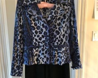 Clara S. size small patten leather cheetah print button front jacket