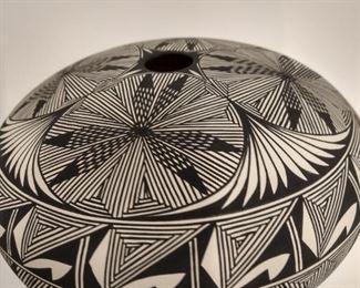 Signed black and white seed pot.  $400.