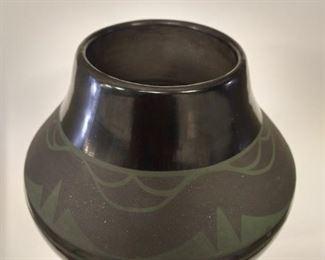 Signed black and green pot, Martha Appleleaf,  $500.