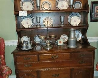 $100, 2pc Cherry Hutch,  Beautiful assortment of pewter items