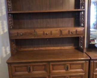 6 drawer dresser with bookshelf $160