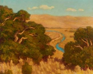 """1001 Arthur Harold Knott 1883-1977, Morro Bay, CA """"Sun Baked Hills"""" Oil on canvas Signed, titled and inscribed on the stretcher: A. Harold Knott / """"Morro Bay Calif."""" 26"""" H x 30"""" W Estimate: $1,500 - $2,000"""