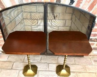"$295 - Pair Mid Century Modern tables on bronze, twisted stands.  15"" W, 13.25"" D, 19"" H."