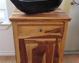 Cedar Tall Nightstand - End Table - Coffee Bar - We have 2. - Ebony Canoe Shape Bowl
