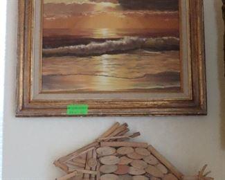 Beach Painting - Fish Driftwood  Decor