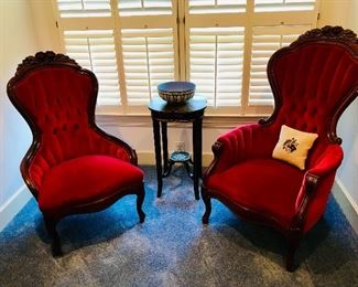 Vintage red velvet chairs