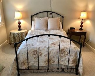 Full size metal bed with mattress