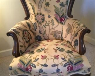 Crewel covered vintage chair