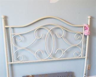 white metal headboard, BLESSED sign