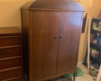 """Antique solid wood 2 door wardrobe.                                                      H-65"""" W-38"""" D 21"""""""