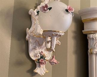1 of 2 wall sconces that come with the matching Capodimonte chandelier.