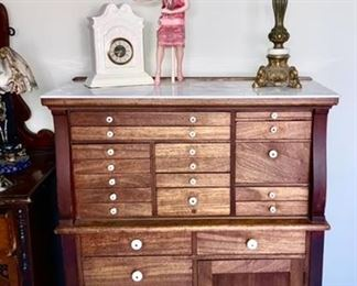 Excellent Antique dental cabinet, removable marble top (broken)