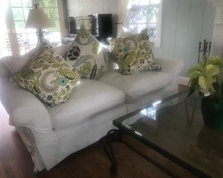 """$325/$650 Carlisle Design """"Shabby Chic"""" style slip cover sofas.  Length 7' x  depth 42"""" x  height 3'.  Print pillows $25 each.   Excellent condition."""