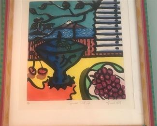 """$250 -- Amanda Watt signed wood block """"Japanese Still Life"""" in hand-painted frame.  Excellent condition.  28""""x22"""""""