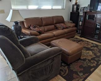 La-Z-Boy lift chair, nice leather couch, ottoman