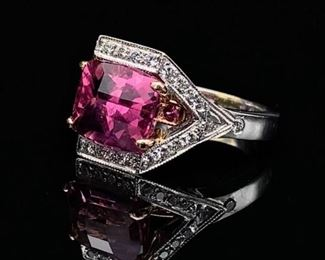 Natural Tourmaline and Diamond Estate Ring