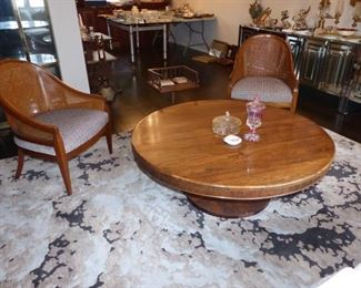 Low round wood pedestal coffee table