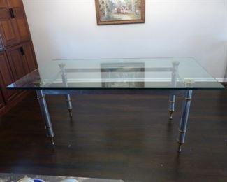 Maison Jansen 1960's glass top steel & brass trim dining table