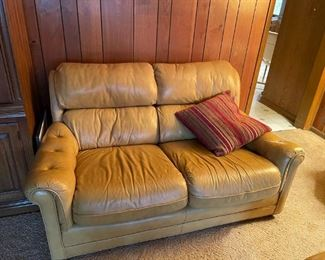 . . . a nice tan leather couch.