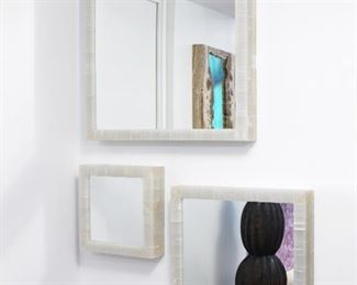 """1 white onyx and 1 grey onyx mirror. LED may be applied to back for illumination.  16"""" x 16"""" x 4""""  $125 each"""