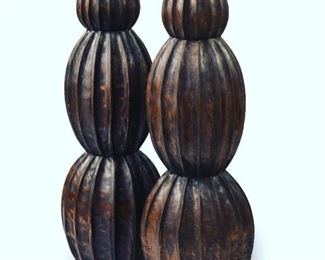 "Hand-carved Balinese teak vessels, matching trio, 41"" x 13"", would look great with giant elephant ears or other foliage! 3 vessels available at $295 each"