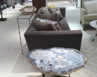 """Grade A+ Agate table from Uruguay featuring on polished nickel mount, hand-cut to the profile of the stone, 32"""" x 23"""" x 20""""  $1200"""