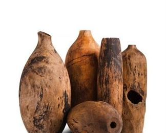 Set of 6 Balinese vintage wood bottles, hand carved - $350