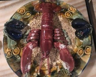 1940's Portugal Majolica lobster plates and crab plates $600 for large, $400 for medium, $300 for small
