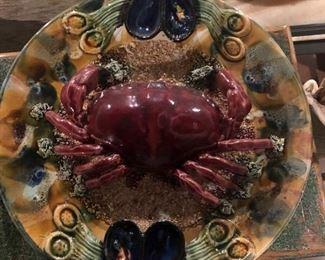 Portugal, 1940'2, Majolica crab plate set - Large, Medium and Small
