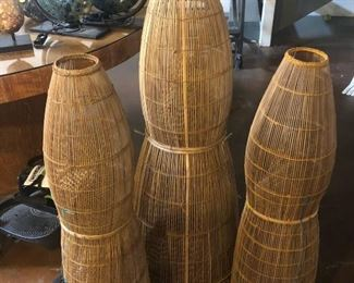 set of 3 large fishing baskets, would be GREAT as a hanging lamp!!