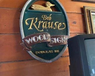 bob krause wooden sign