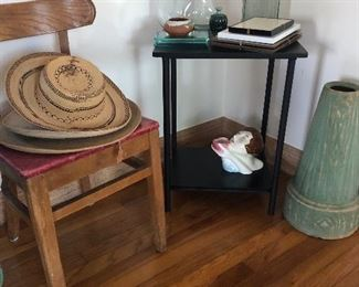 Great wooden chairs(4). Side table. Hats. Art. Vases. Pottery.Art deco lady vase piece.