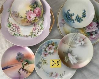 D-5, All 7 hand painted plates lot, $14