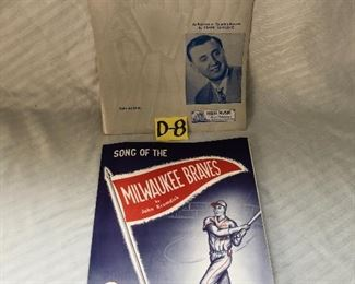 D-8, Set of two Milwaukee sheet music, Braves and polka, $22.00 set