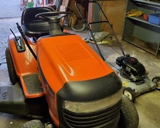 Arien mower w/ sweeper and utility cart.
