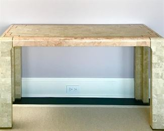 "Tessellated stone & brass  console table 1980's  (Detail) W48"" D 17"" H 26"" Was $900 Now $500"