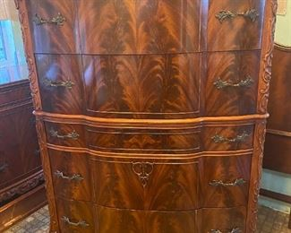 Crotch mahogany high  boy dresser