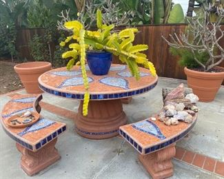 Custom terra cotta tiled outdoor table and benches