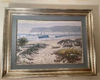 """Large print on canvas of Coronado beach with Point Loma in the background  by artist Kromschroeder,  measures 39""""x29"""", art 30""""x20"""""""