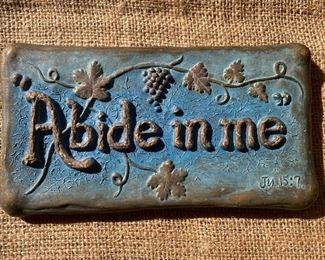 "Vintage chalkware ""Abide in me"" plaque"
