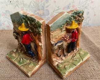 Vintage chalkware bookends