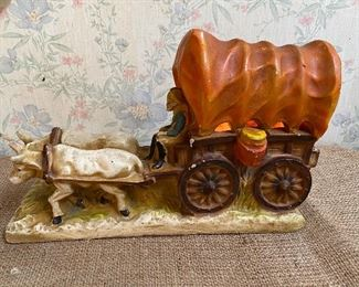 Chalkware figural covered wagon and oxen table lamp