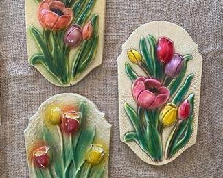 Trio of Chalkware tulip plaques