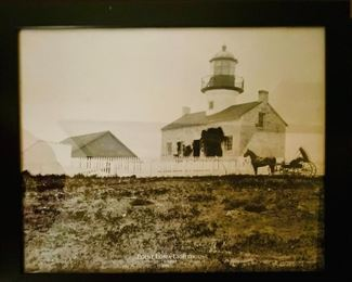 Framed vintage Point Loma Lighthouse photo