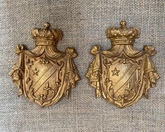 Brass crown & shield curtain ties (from the Liberace estate)