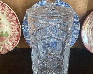 Cut glass large tall jar