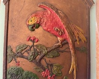 Large chalkware parrot wall plaque