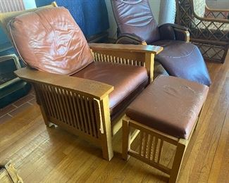 Mission oak leather armchair recliner and ottoman