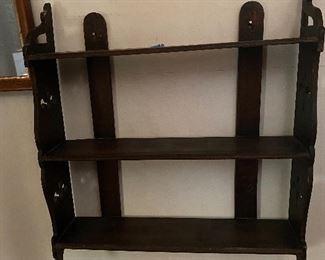 Antique oak wall shelf