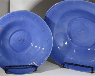 set of blue dishes - large serving bowls